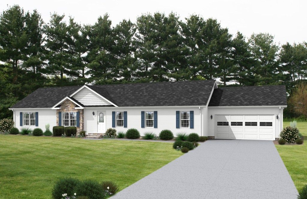 Arlington iv au168a aurora classic ranch modular home for Ranch house curb appeal