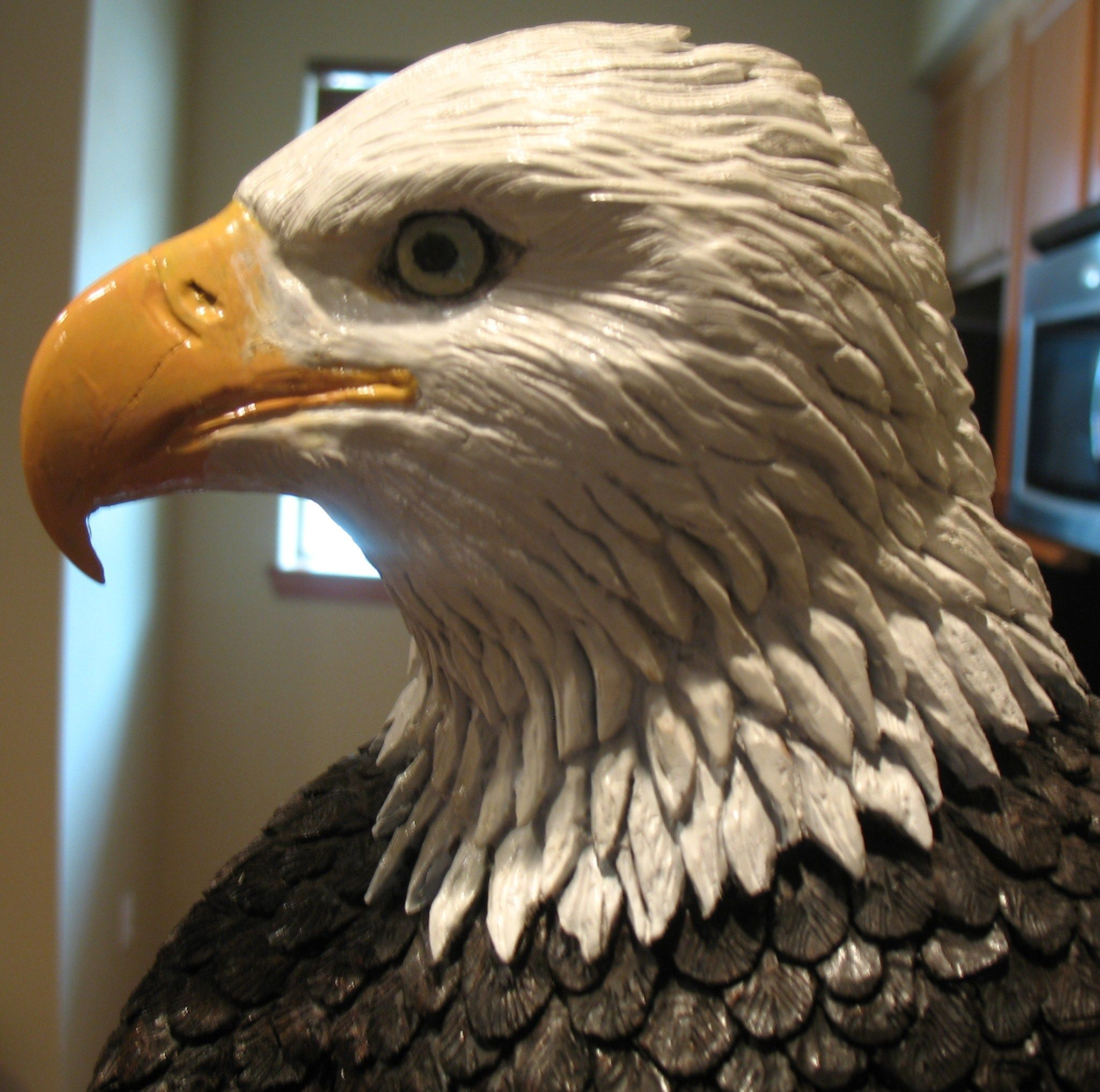 Maple bald eagle wood carving by scott johnson