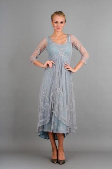 Nataya 40163 Downton Abbey Tea Party Gown In Sunrise Nataya Dress Boho Mother Bride Dress Vintage