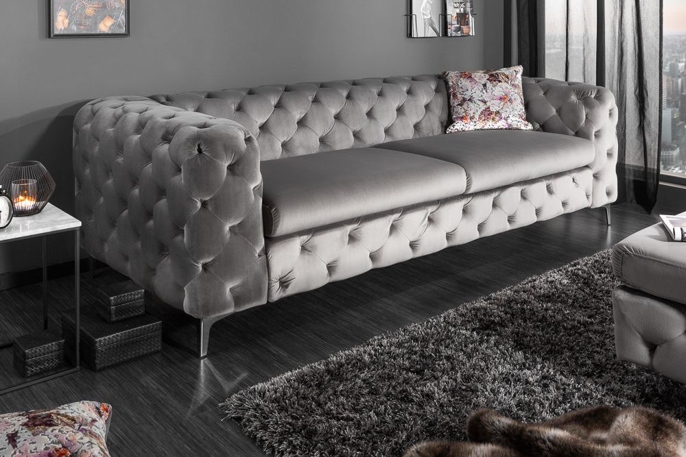 Elegantes Chesterfield 3er Sofa Modern Barock 240cm Grau Samt In 2020 Chesterfield Sofa Furniture Modern Sofa