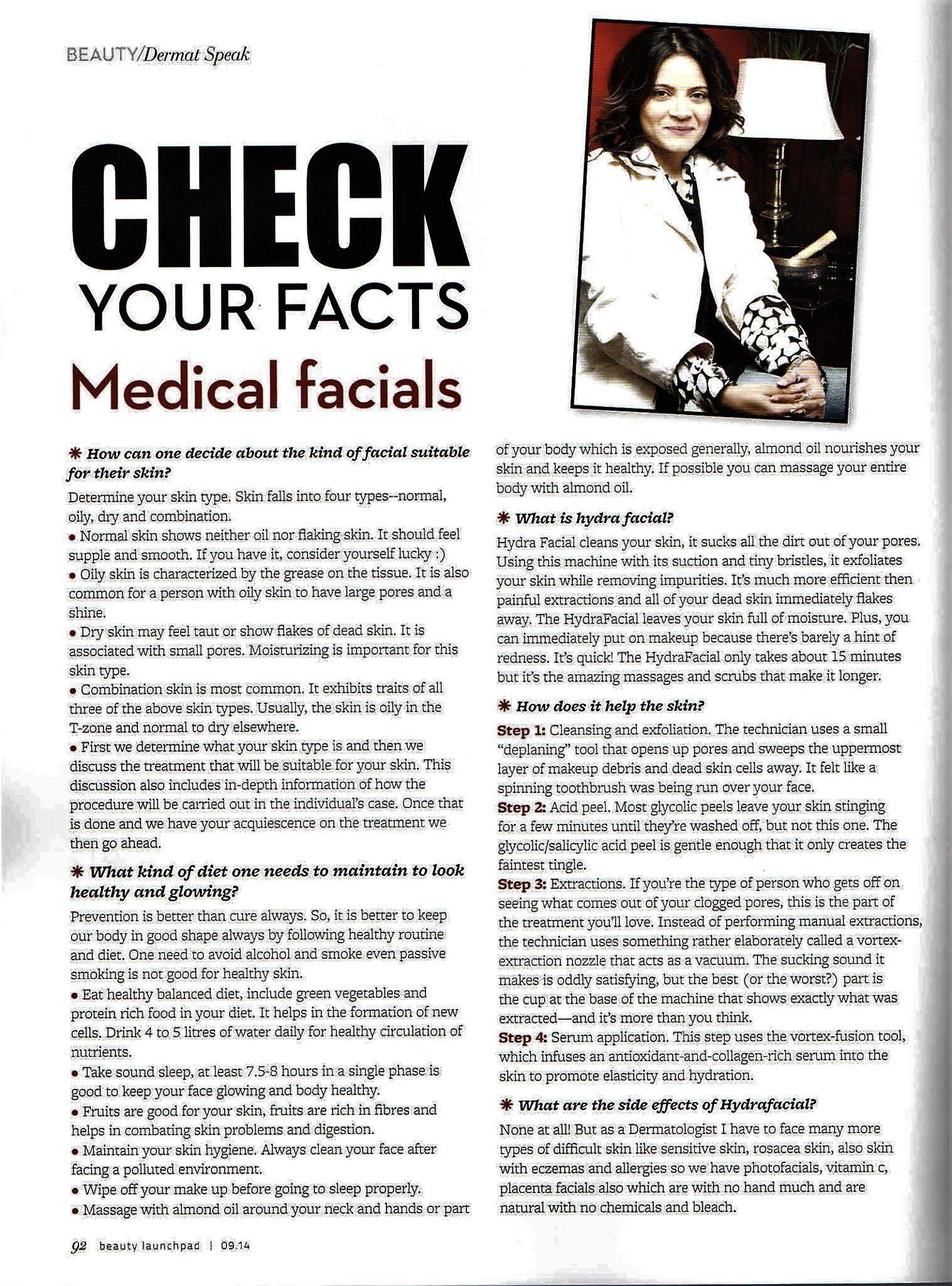 Medical Facials Facts Dermatologist Drdeepalibhardwaj Skincare