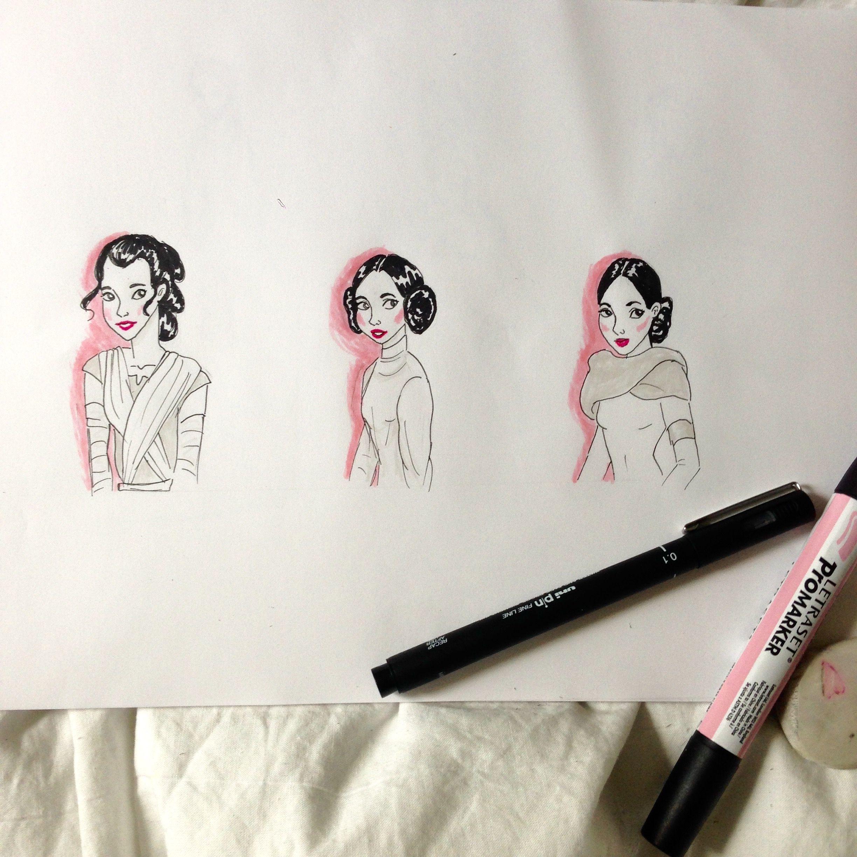 The 3 StarWars ladies by @sketchingdaisy on Instagram