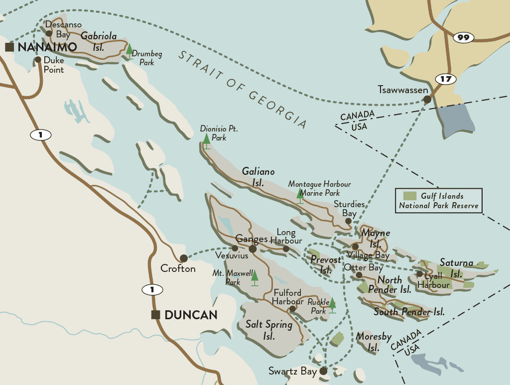 The Southern Gulf Islands Sit Pretty Along Vancouver Islands - Map of southern canada and northern us