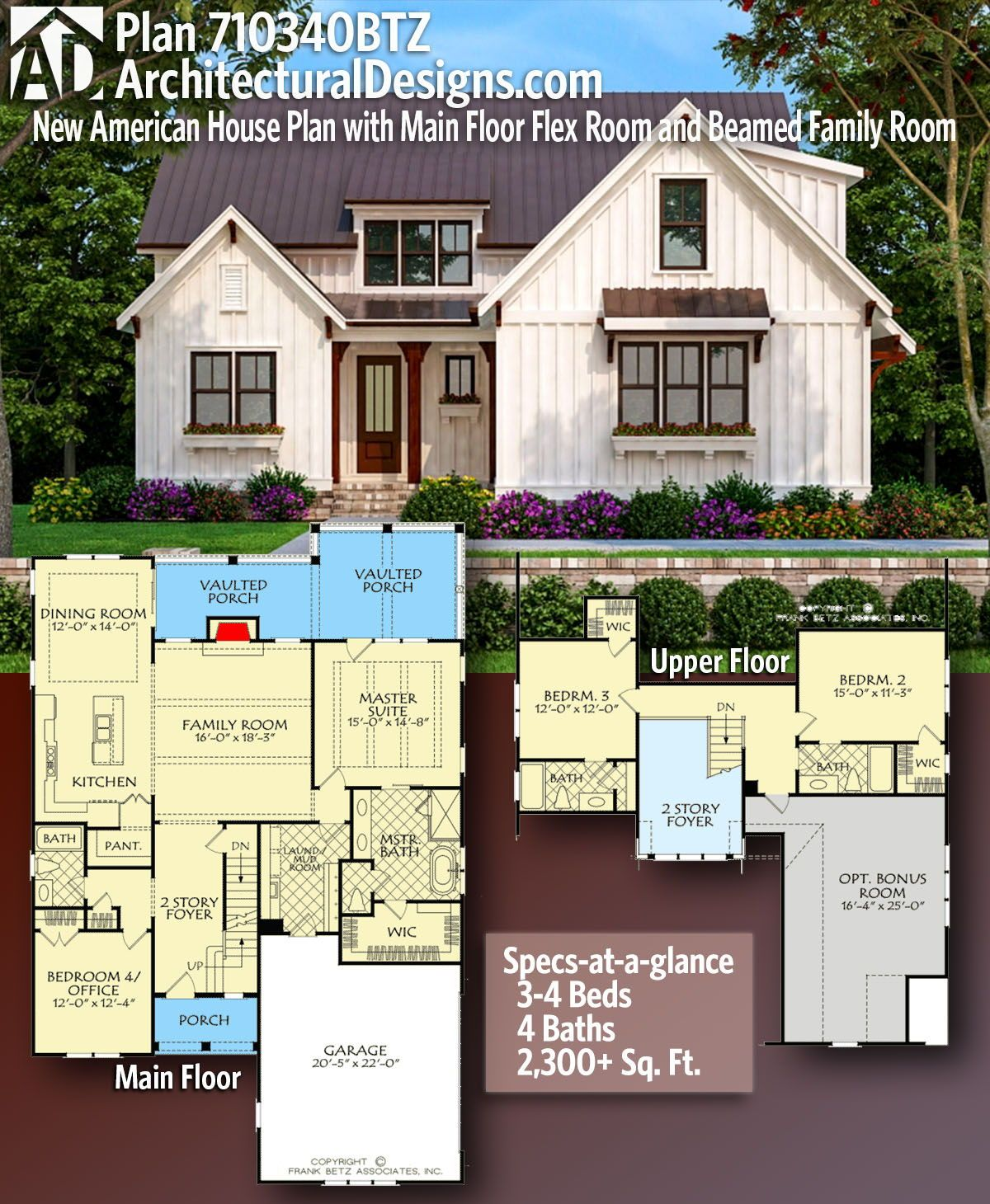 Plan 710340btz New American House Plan With Main Floor Flex Room And Beamed Family Room American Houses House Plans Farmhouse New House Plans