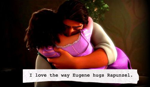 I love the way Eugene hugs Rapunzel.  <3