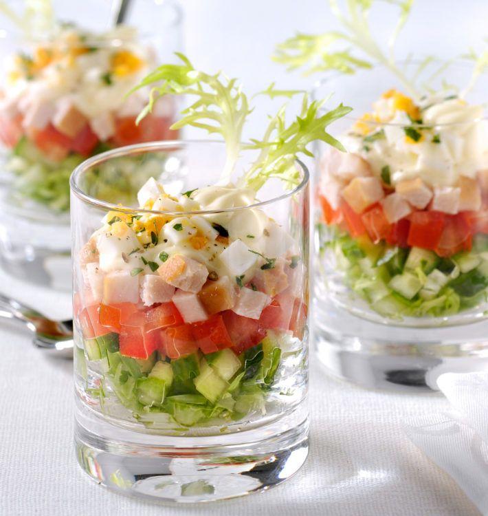 Salade met kipfilet in glas #koudehapjes