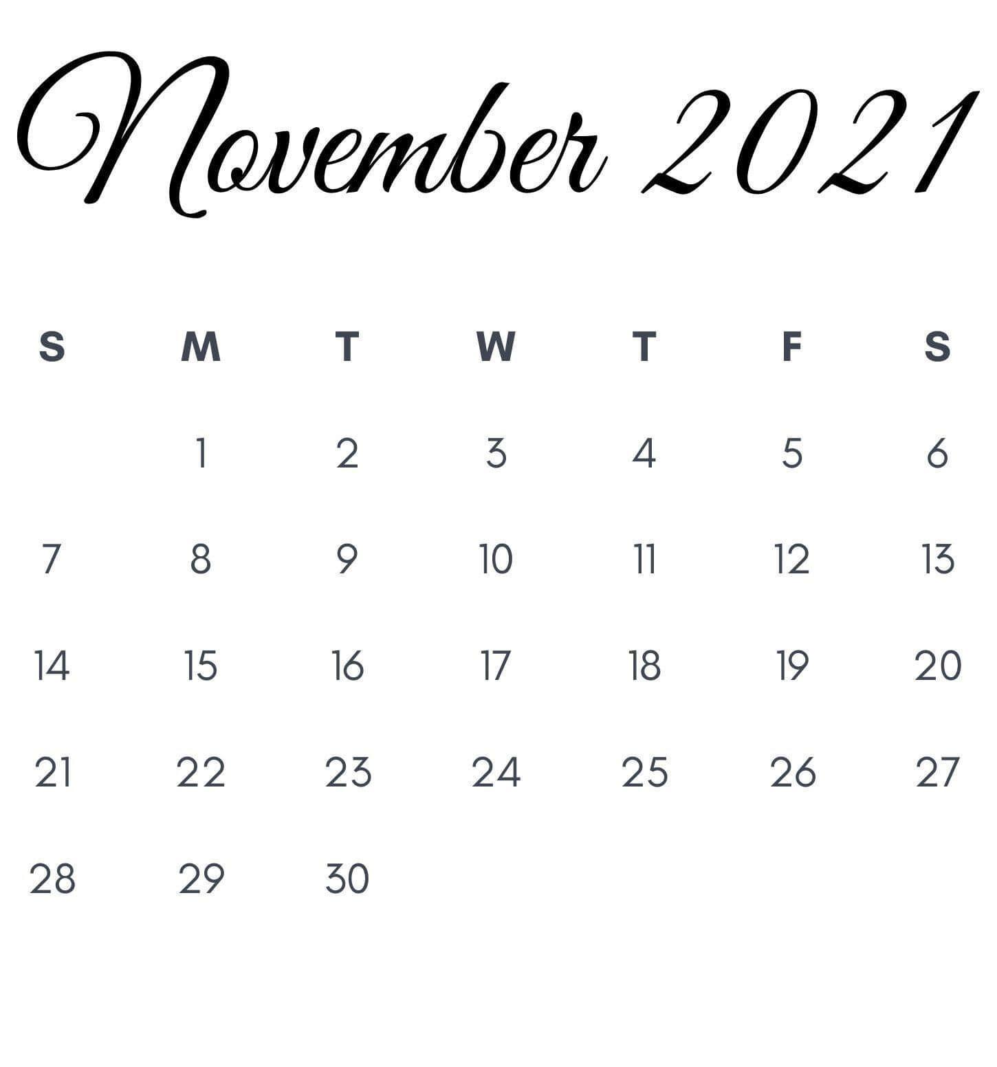 November 2021 Calendar Printable Template Pdf Word Excel Free Printable Calendar Templates Calendar Printables Monthly Calendar Printable