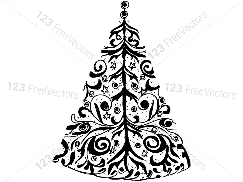 Hand Drawn Christmas Tree Vector And Photoshop Brush Pack 01 Photoshop Brushes How To Draw Hands Vector