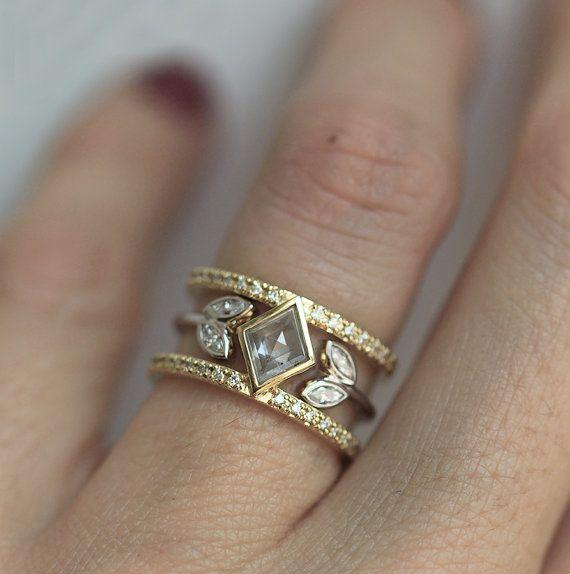 Unique Diamond Ring Set Double Band