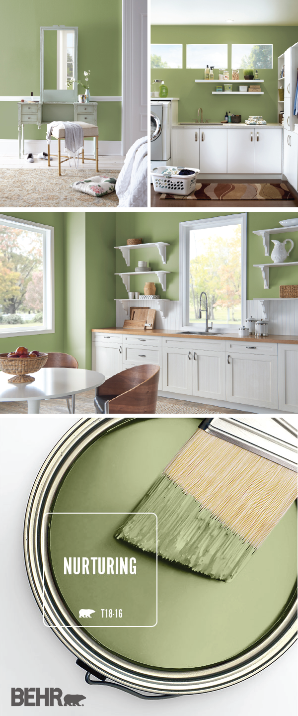 Color Of The Month Nurturing Colorfully Behr Interior Design Paint Room Colors Green Interiors
