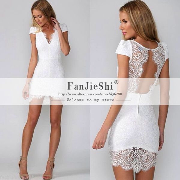 Find More Cocktail Dresses Information about 2015 Custom Made Short Party Gown Above Knee Mini Cap Sleeve V Neck Appliques Open Back White Straight Lace Cocktail Dresses,High Quality dress m,China dress tight Suppliers, Cheap gown city dresses from Suzhou FanJieShi Wedding Dress Co., Ltd. on Aliexpress.com
