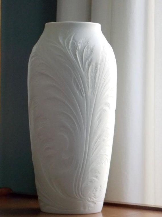 Tall Matte White Vase 12 Hutschenreuther Vase West German Porcelain