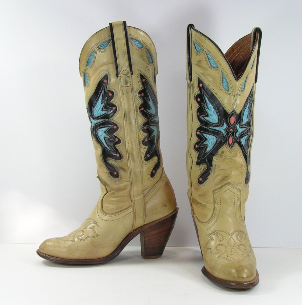 39823248ff3 vintage miss capezio butterfly cowboy boots womens 6 B leather usa ...