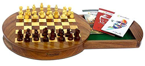 Artist Haat wooden Chess board Round Magnetic Chess Set with