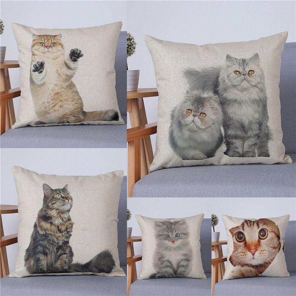 Pcs pet cat printed linen throw pillow cover car chair sofa seat