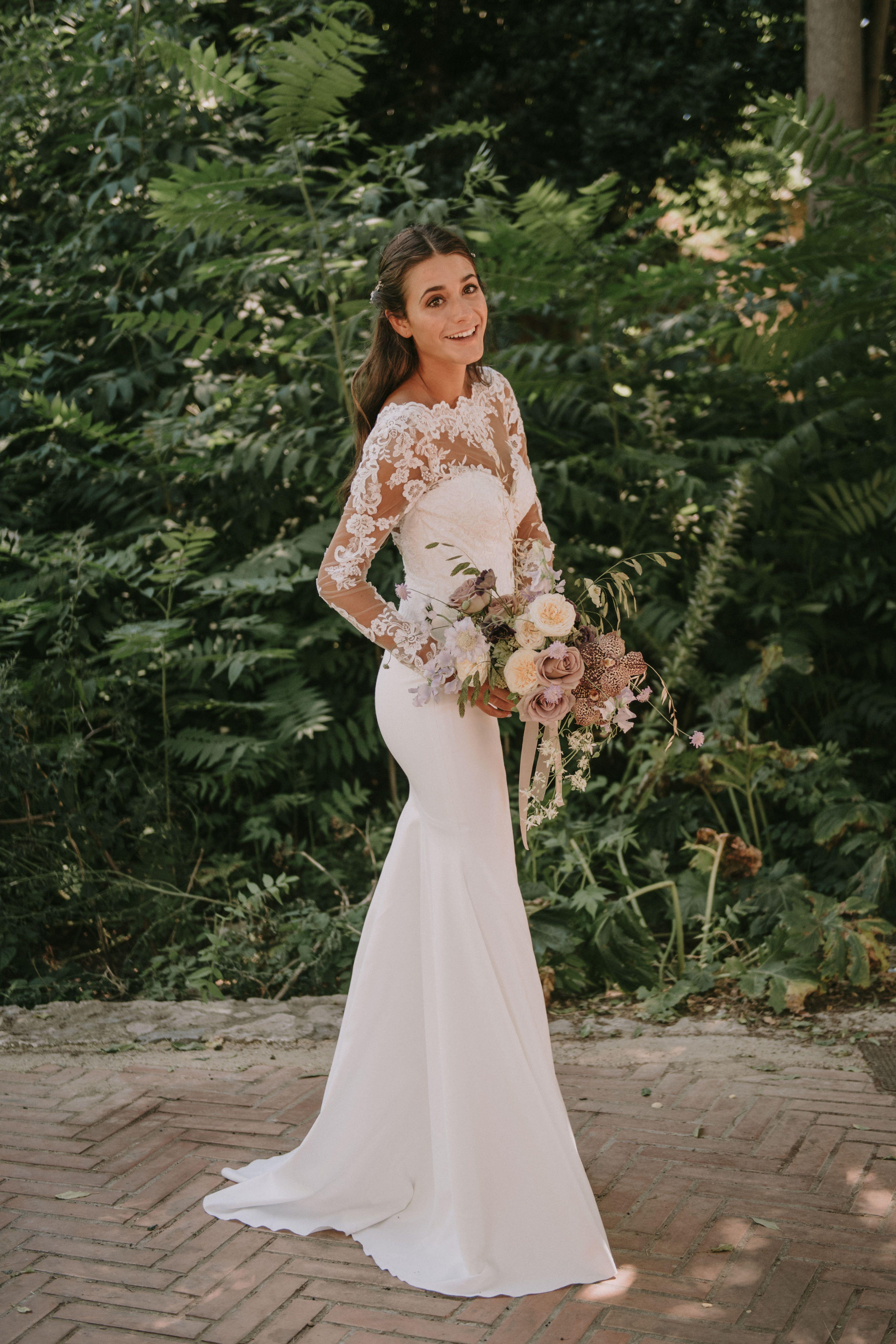 Crepe Wedding Dress With Mermaid Silhouette Long Sleeves And Bateau Neckline Dresses Wedding Dresses Crepe Wedding Dress [ 5859 x 3906 Pixel ]