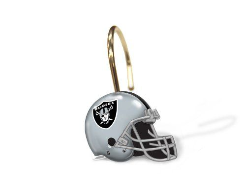 Nfl Oakland Raiders Set Of 12 Shower Curtain Rings Details Can