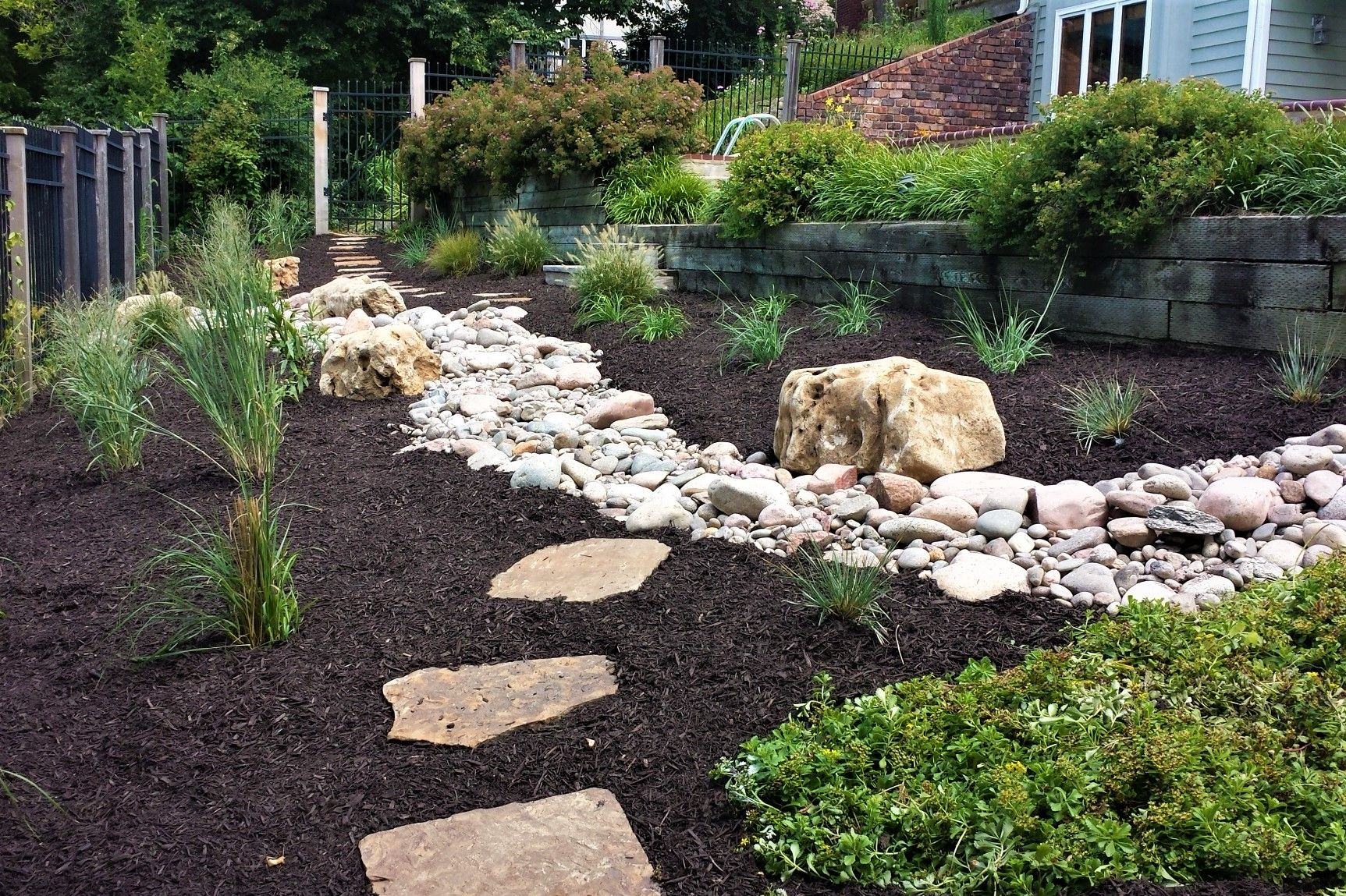 Dry Creek Bed And Plant Material Lawrencelandscape Gallery Landscaping Landscapedesign Yard Flagstone Stone Landscaping Landscape Design Home Landscaping