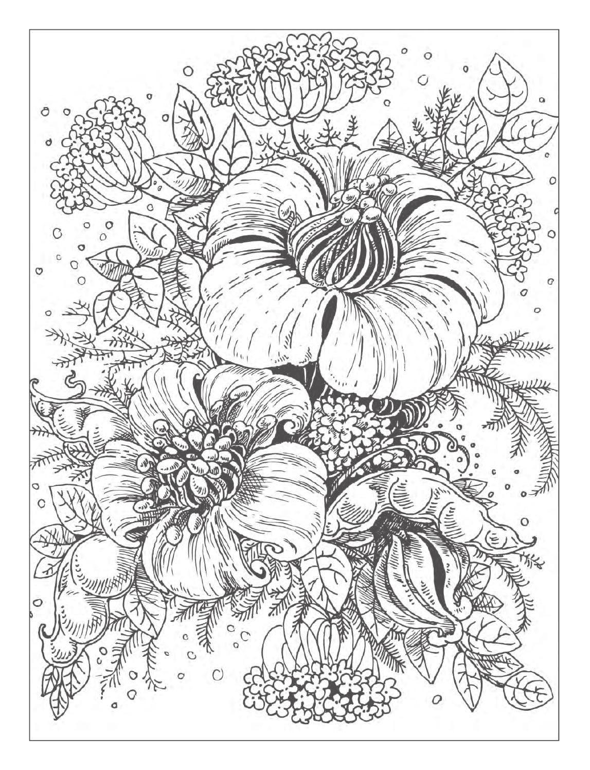 Beautiful Flowers Detailed Floral Designs Coloring Book - preview in ...