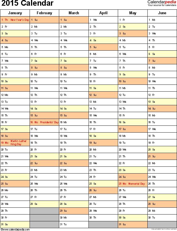 Template 10 2015 Calendar For Word 2 Pages Portrait Orientation