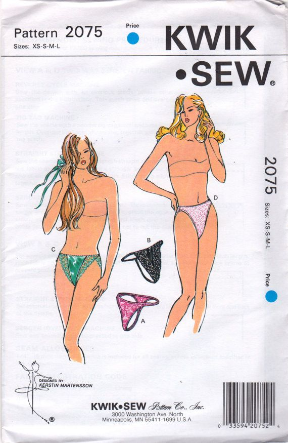 5d4b4df3b4ff Kwik Sew 2075 Misses Lingerie THONG Panties Pattern High Cut Leg Womens Sewing  Pattern Size XS S M L Hip 32 - 43 UNCUT