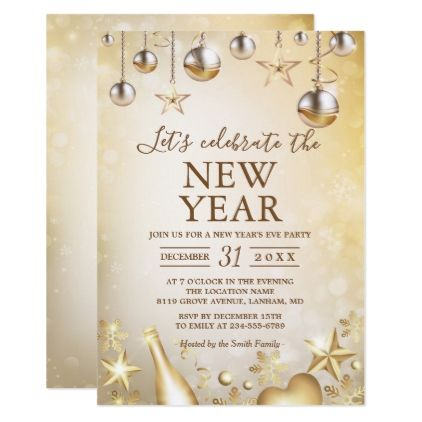 golden ornaments celebrate the new years party card