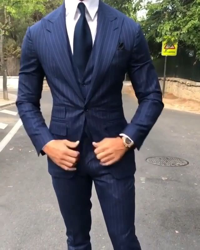 Photo of Blue pinstripe suit