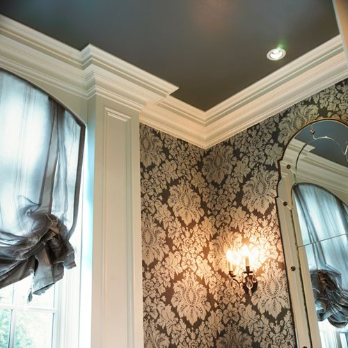 Dark ceiling with white crown molding i love this idea in a powder room for a new build house - Crown molding wallpaper ...