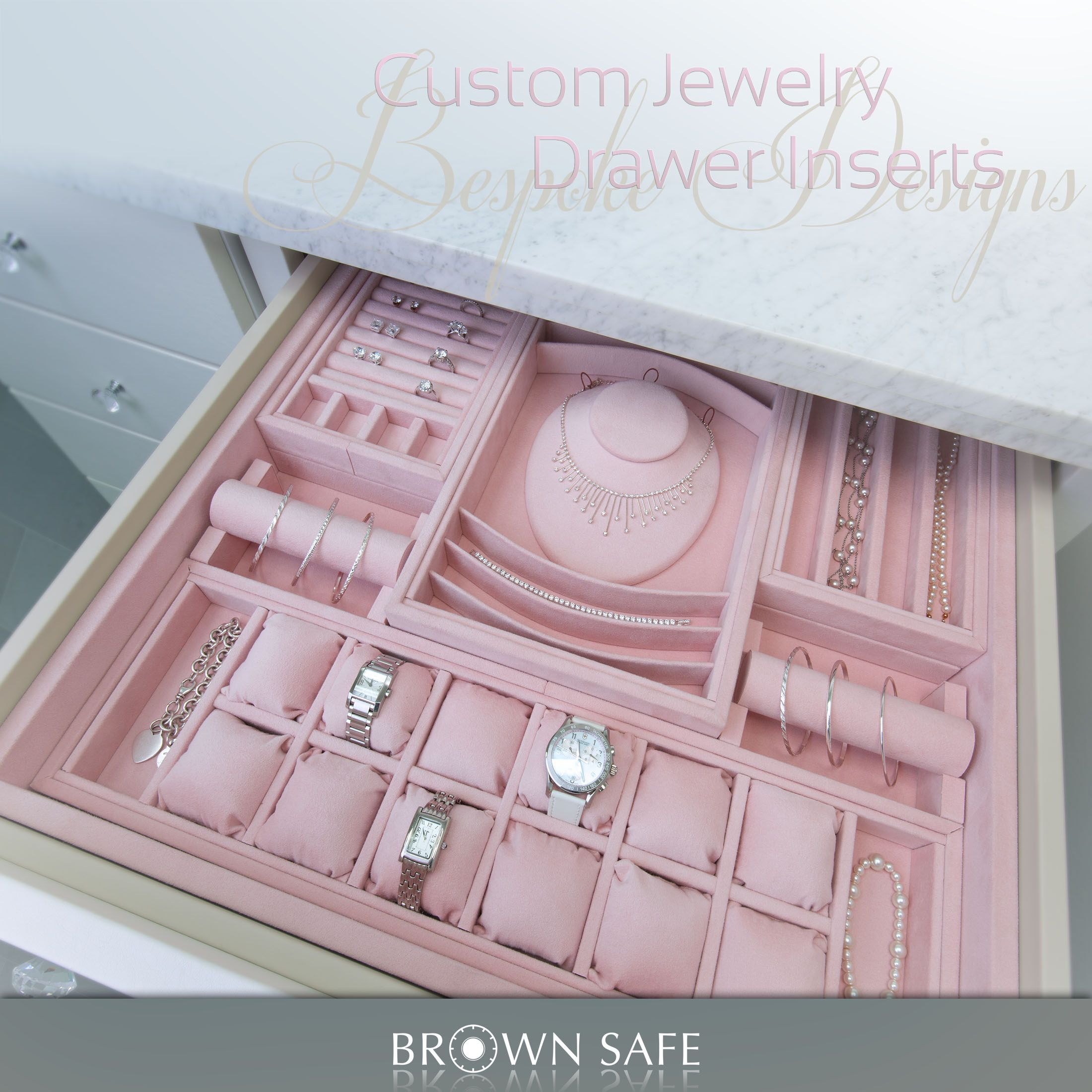 Ultrasuede Lined Drawer Inserts For Jewelry Perfectly