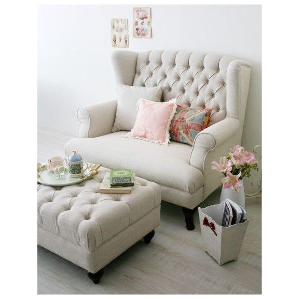 Classic Wingback Sofa(アイボリー) Liked On Polyvore Featuring