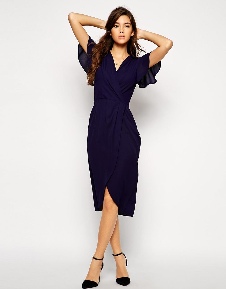 Love Wrap Front Midi Dress with Tulip Hem | Mothers, Something new ...