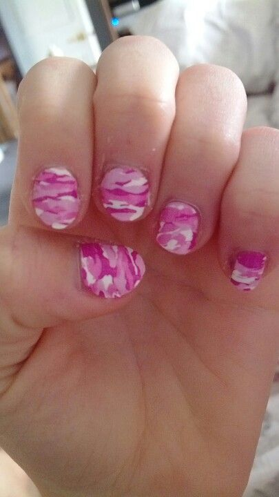 My Pink Camo Nails Finger Toe Nails Pinterest Pink Camo