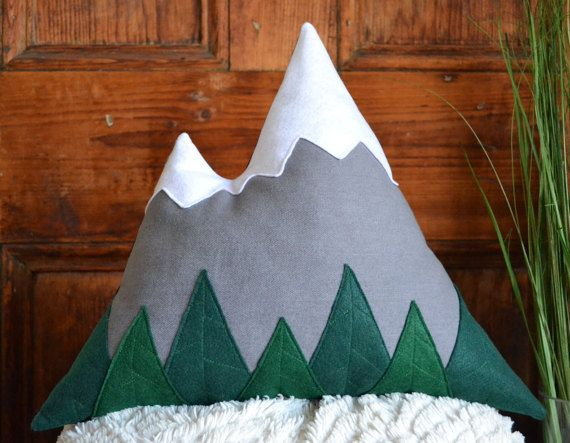 Light grey mountain pillow - Mountain cushion modern rustic home decor, children room, cabin decor - Felt trees - by Cabin Studio, Quebec