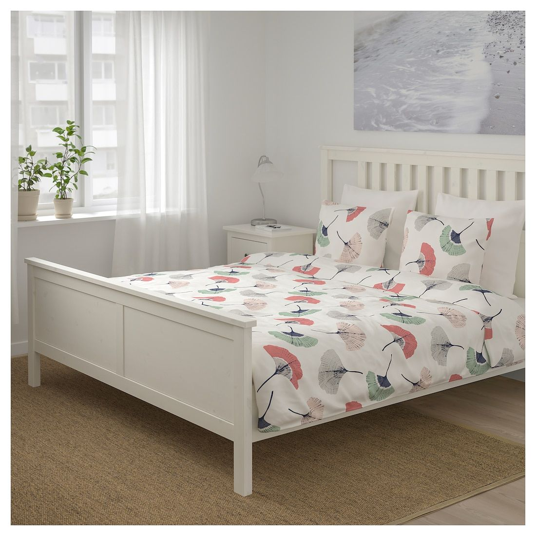 TOVSIPPA Duvet cover and pillowcase(s) white, floral