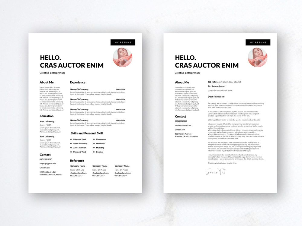 Free Simple Dynamic Resume Template With Cover Letter Page Resume Template Resume Resume Template Free