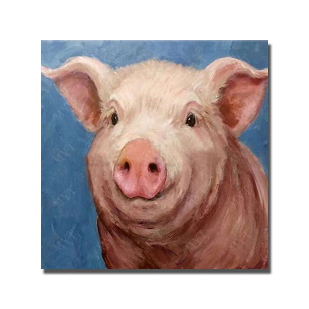 realistic animal wall picture hand drawing cute pig canvas oil