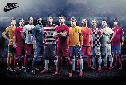 Poster Soccer Football World Cup All Star Messi Lionel Cristiano Ronaldo Neymar Nike Football Bola Kaki Sepak Bola