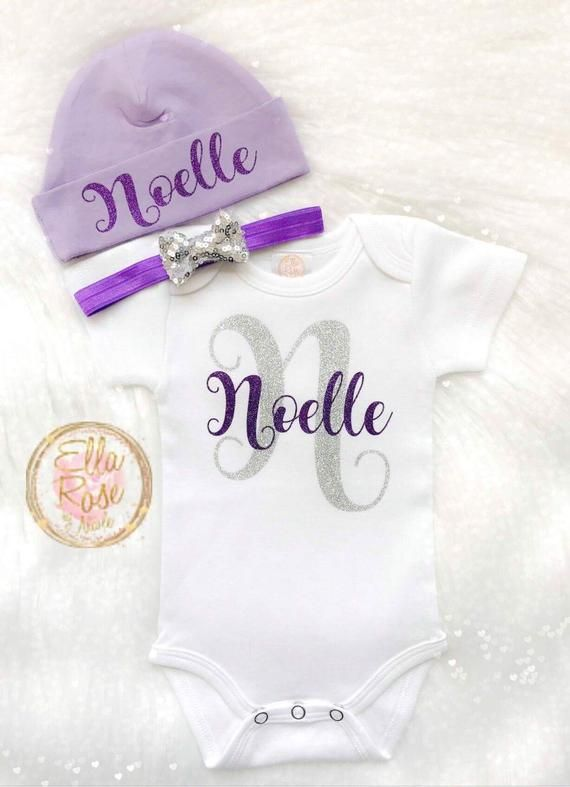 f63627567431 Personalized Newborn Take Home Outfit Girl   Baby Girl Announcement ...