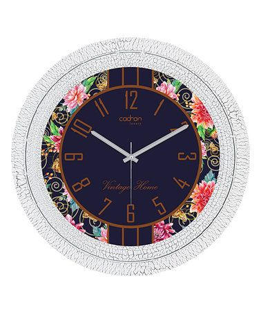 Loving This Vintage White Navy Floral Wall Clock On Zulily Zulilyfinds Floral Wall Clocks Clock Wall Clock