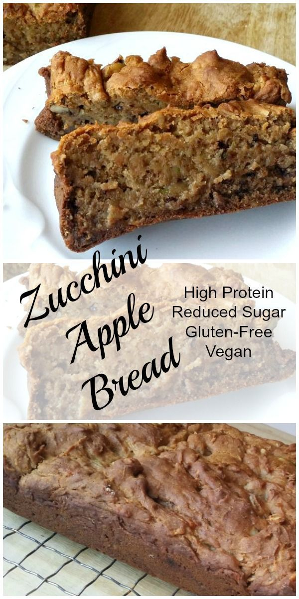 Zucchini Apple Bread The best Zucchini Apple Bread! It's vegan, gluten free, lower in sugar, and higher in protein. And delicious! via @coachdebbierunsThe best Zucchini Apple Bread! It's vegan, gluten free, lower in sugar, and higher in protein. And delicious! via @coachdebbieruns