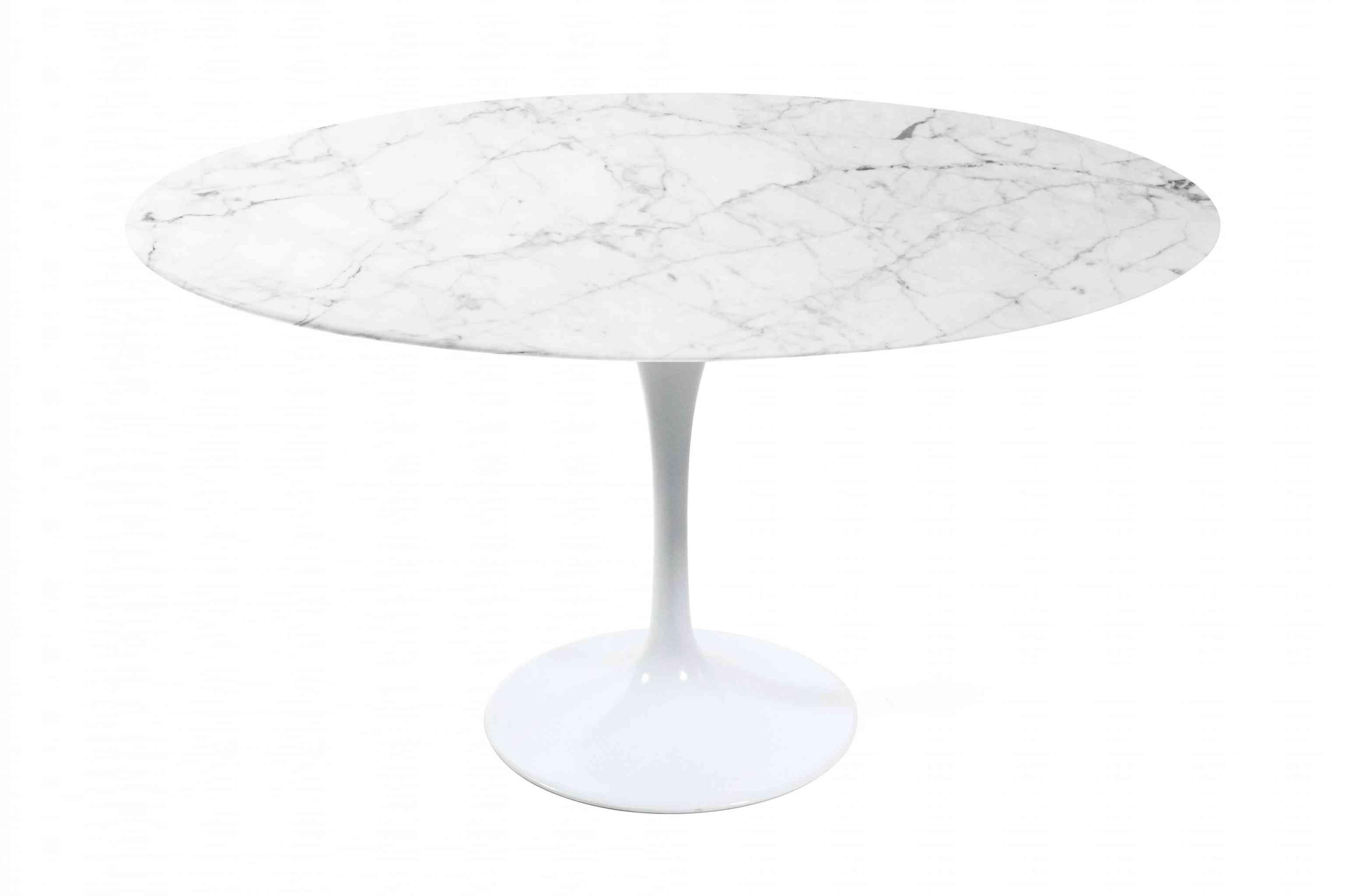 Saarinen Tulip Table   White Cararra Marble + White Base
