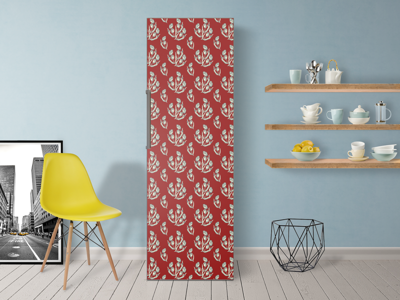 Kühlschrank Aufkleber : Zauberhafter #kühlschrankaufkleber in rot mit grauen blumen