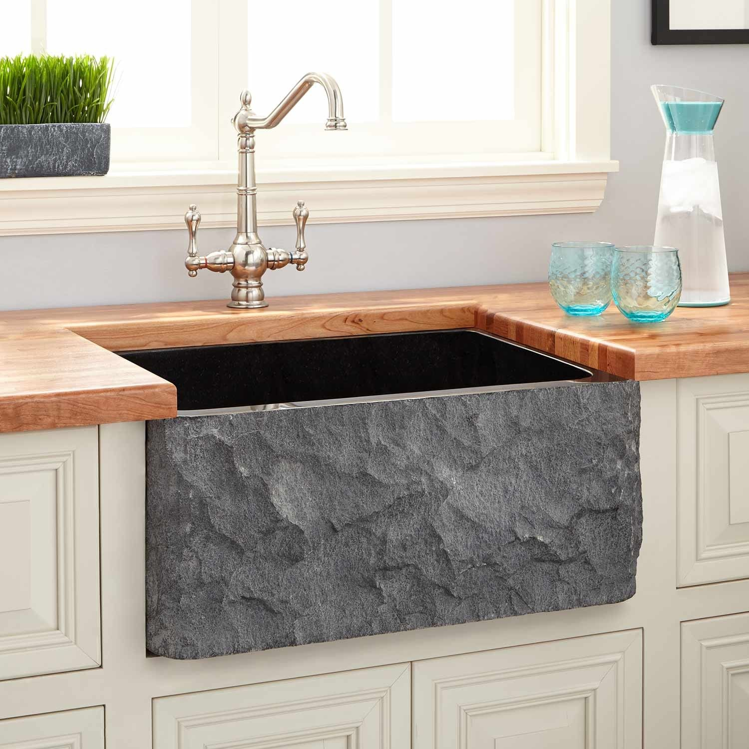 "24"" Polished Granite Farmhouse Sink with Chiseled Apron"