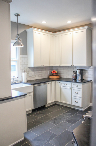 I like everything about this look maybe a color for for Kitchen slate floor white cabinets