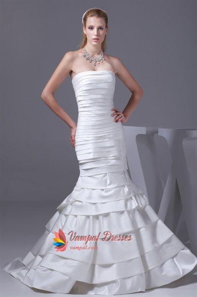White Satin Mermaid Wedding Dress, Strapless Mermaid Prom Dresses ...