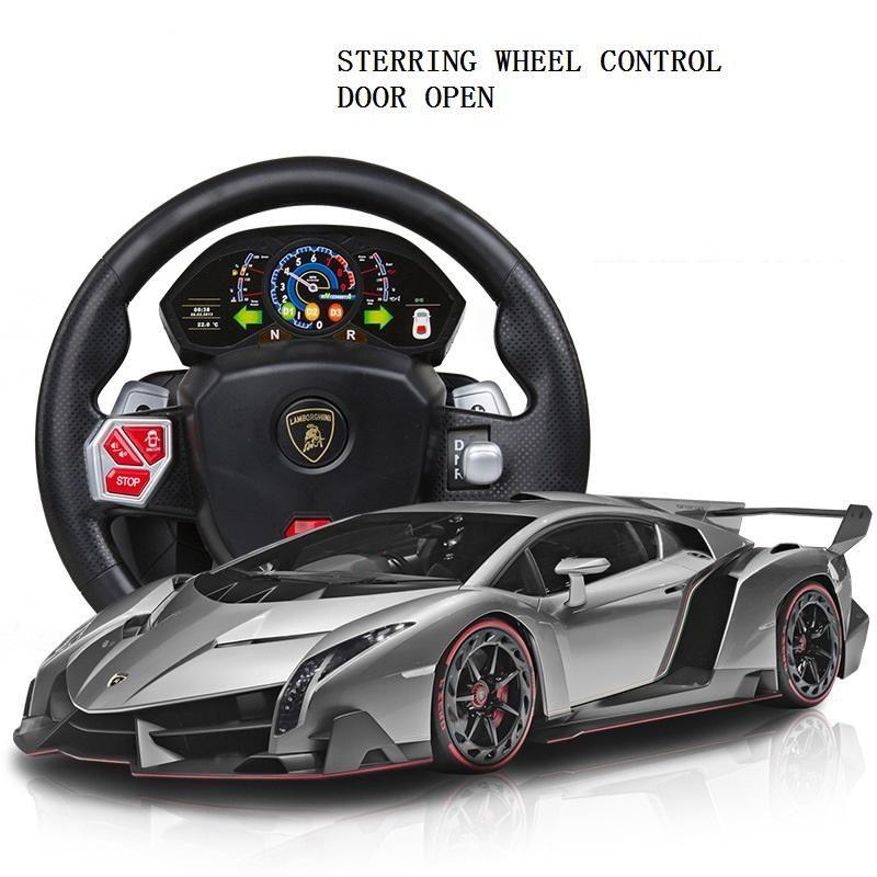 kids car toys rc remote comtrol steering wheel control lamborghini veneno racing car toys door open