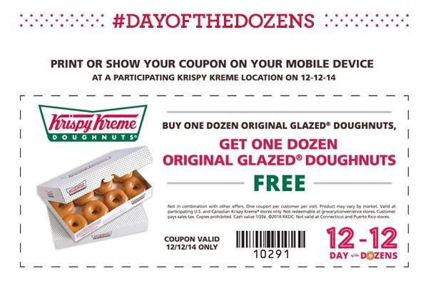Melissa S Coupon Bargains Krispe Kreme Bogo Free Dozen Doughnuts