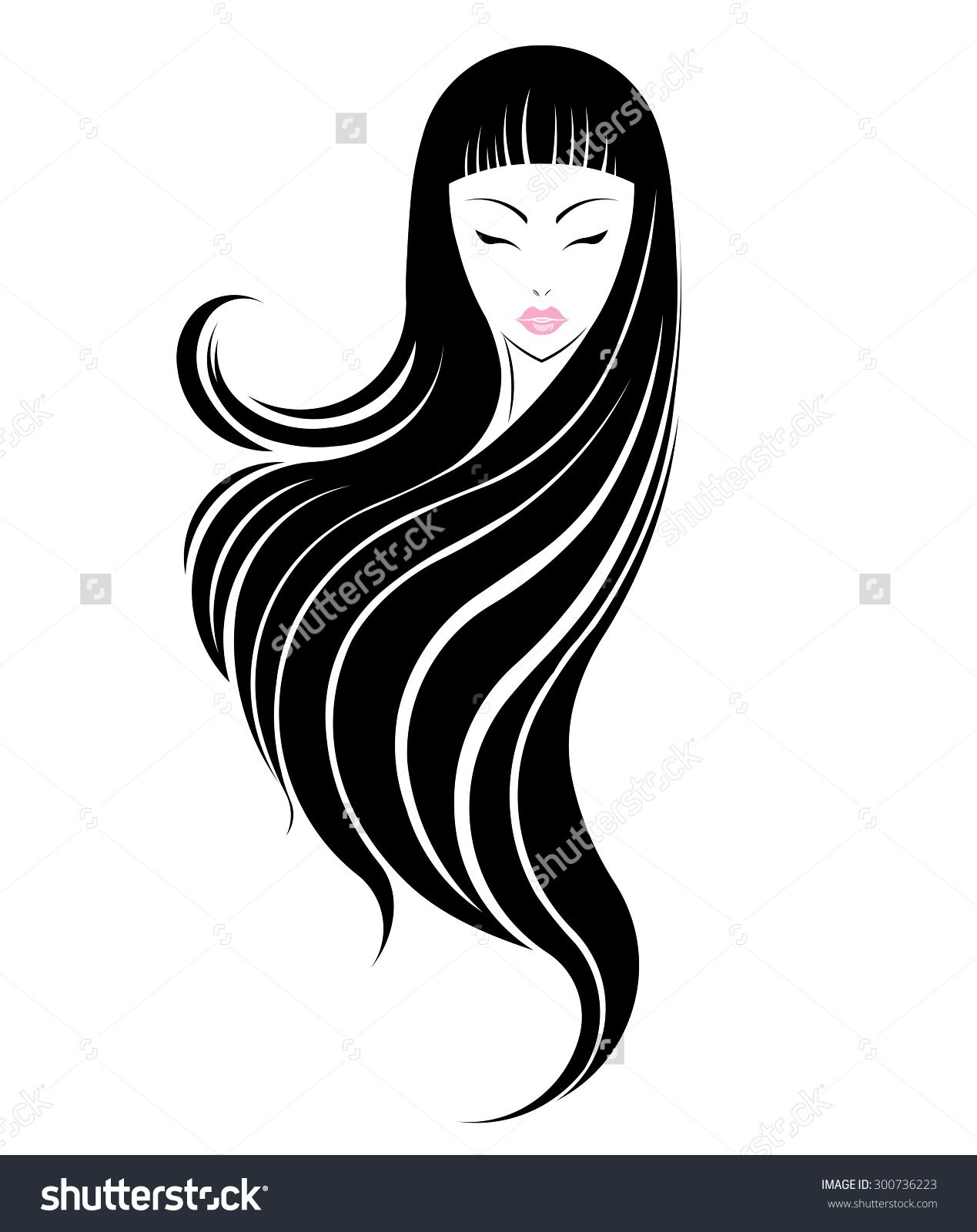 Long Hair Style Icon Logo Women Face On White Background Vector