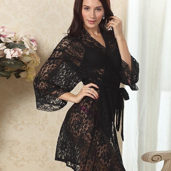c0a3dd1a71 Womens Sexy See Through Lace Sleepwear Robes Lingerie Pajamas Nightgown  Bathrobe