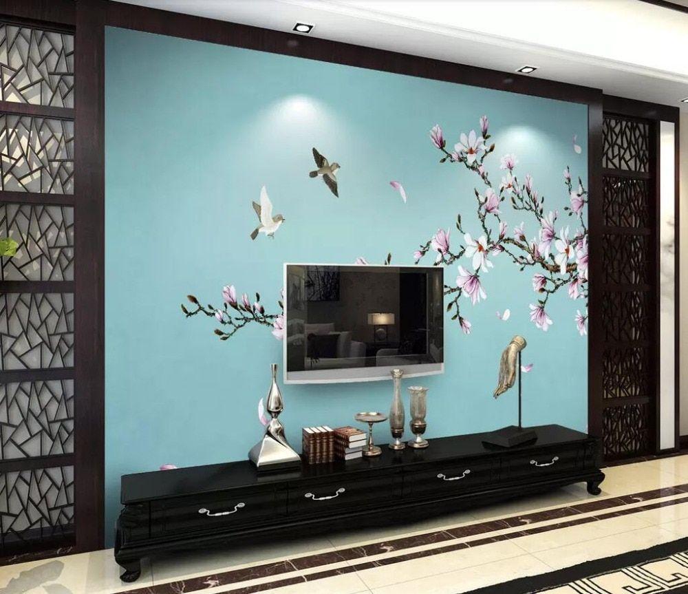 Magnolia flor novo estilo chinês parede profissional produção mural atacado papel de parede mural poster foto